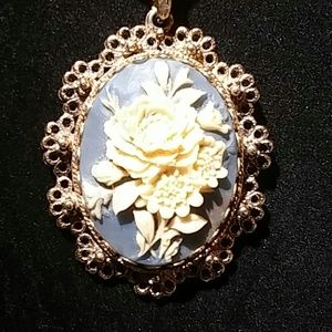 Vintage Ceci Blue Rose Cameo Necklace